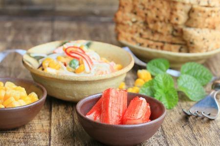 haricot: salad with crab sticks