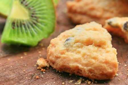 chocolate chip cookie and kiwi Stock Photo