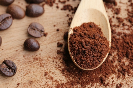 Instant coffee with bean Imagens