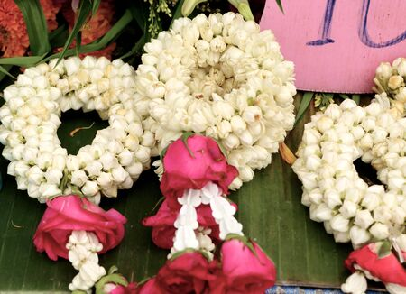 klong: Jasmine garland in the market Stock Photo