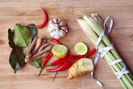 Vegetable ingredients for spicy soup - Thailand food Stock Photo