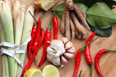 Vegetable ingredients for spicy soup - Thailand food – Stock Image