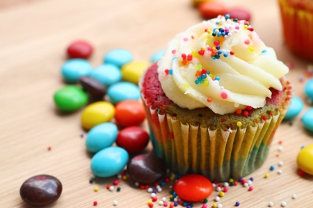 cupcake and chocolate coated colorful Stock Photo