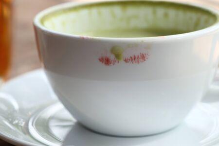 hot green tea with milk Stock Photo