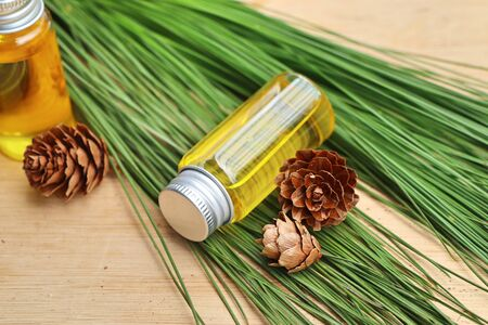 essential pine oil Stock Photo