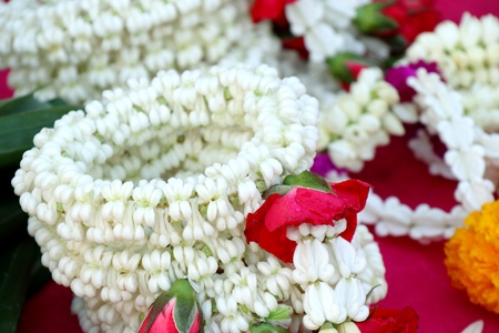 Jasmine garland in market Stock Photo