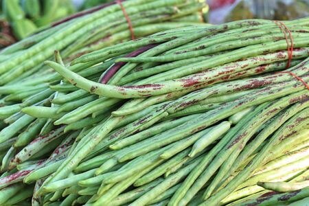 long bean: Long beans at market Stock Photo