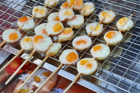 Quail eggs at street food Stock Photo