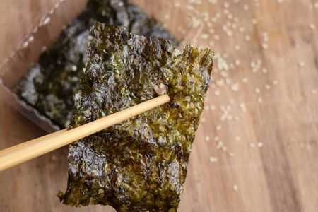 Crispy dried seaweed with sesame Stock Photo