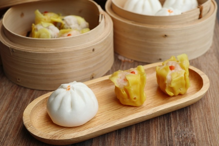 Chinese steamed dumplings and buns Stock Photo