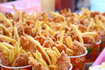 French fries and fried chicken Stock Photo