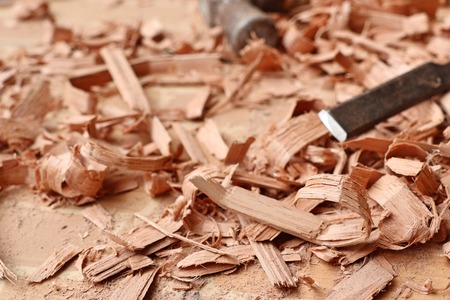 wood sawdust and tools Stock Photo