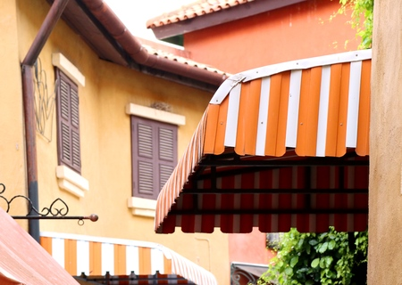The awning in front of a store building