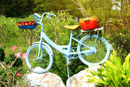 Old bicycle decorating the garden