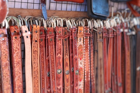 Sales leather belts at the market Reklamní fotografie