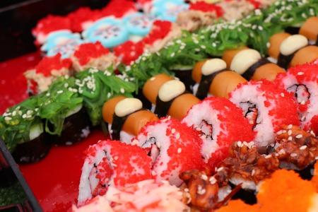 Tasty sushi at street food 스톡 콘텐츠