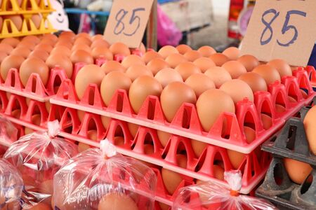 Hen egg in the market