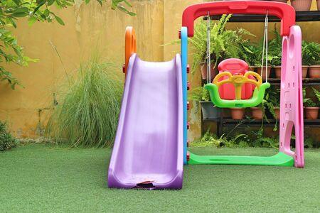 Children's slider playground in park
