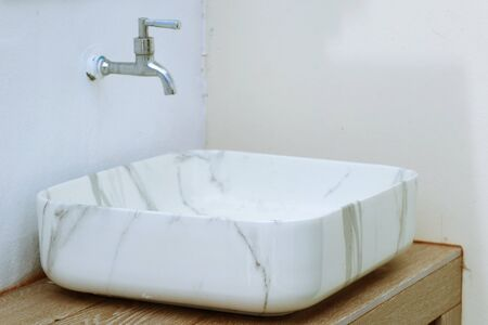 Marble sinks in the bathroom