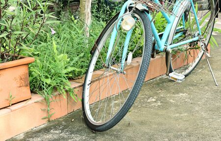 Vintage blue bike for decorate
