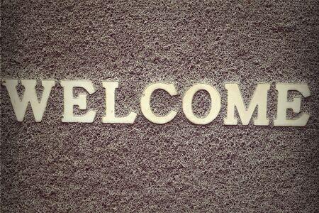 Background carpet sign in welcome Archivio Fotografico