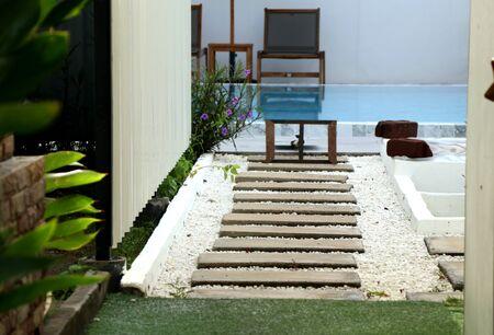 Stone walkway in the pool