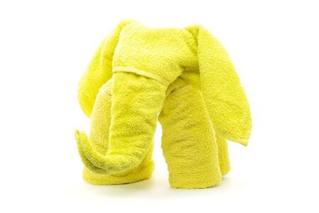yellow elephant  towel origami folding  isolated on white Stock Photo - 17384846