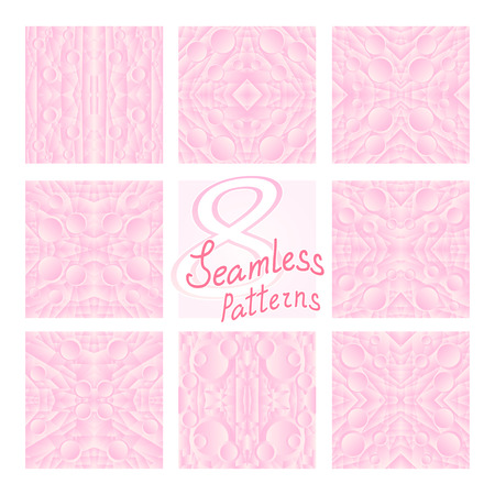 fond: 8 Pink Vector Seamless Patterns. Fond pink and white colors. Endless texture can be used for printing onto fabric and paper or invitation. Abstract geometric shapes.