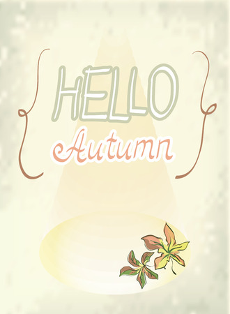 lighting background: Hello Autumn design. Blurred background in curly braces with maple leaves in stage lighting. Vector illustration