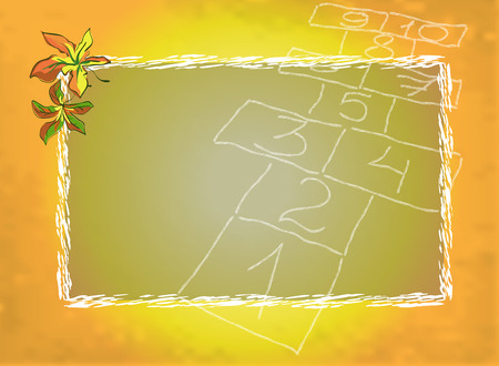 hopscotch: Autumn fall blurred background with chalk hopscotch board and maple leaves, vector illustration Illustration