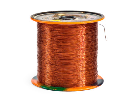 copper wire: Copper wire spool isolated on a white background