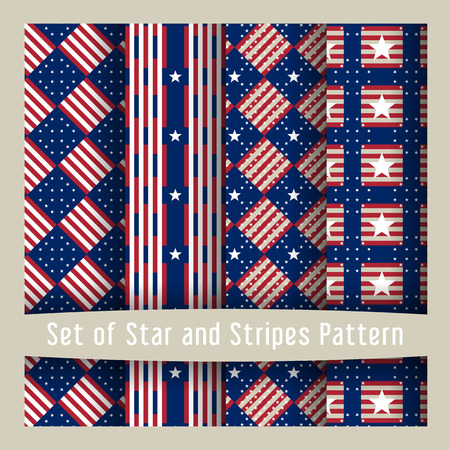 patriotic america: Set of seamless patterns with stars - Ornamental Design American Flag style