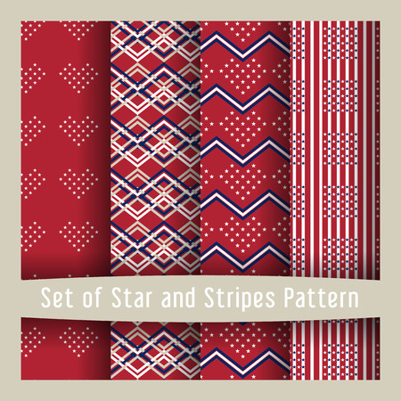 undulate: Set of seamless patterns with stars - Ornamental Design American Flag style