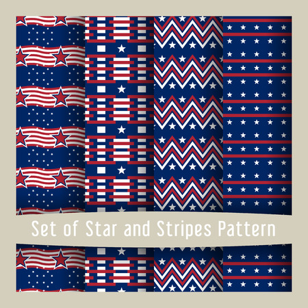 usa flags: Set of seamless patterns with stars - Ornamental Design American Flag style