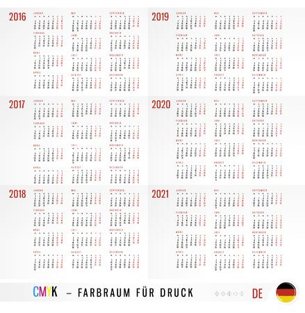 Calendar 2016 2017 2018 2019 2020 2021 years  Illustration