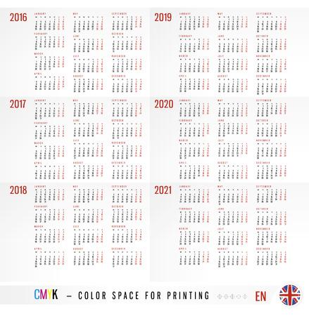 Calendar 2016 2017 2018 2019 2020 2021 years
