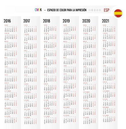 Calendar 2016 2017 2018 2019 2020 2021 years Set in Spanish.