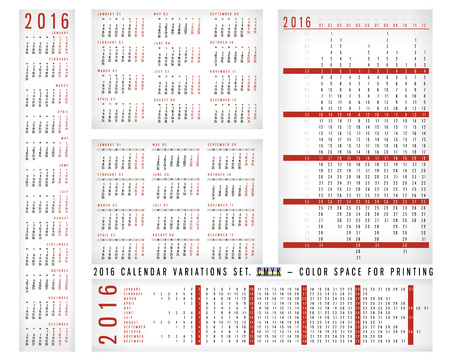 variations set: Calendar 2016 Variations Set
