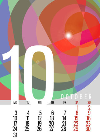 calendar october: calendar October 2016 vertical with square unique abstract composition