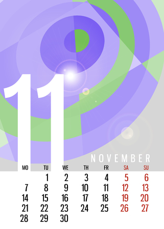 a3: calendar November 2016 vertical with square unique abstract composition Illustration