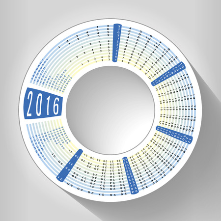 accents: Calendar 2016 around the circle with blue accents on neutral background and drop shadow