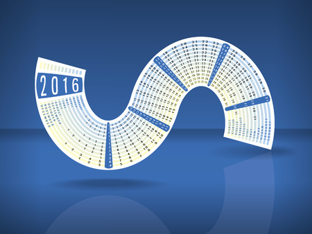 Calendar 2016 inscribed in a S-shape on blue glossy background with reflection and space for text
