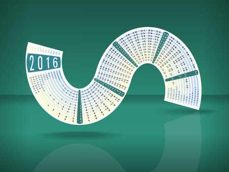 Calendar 2016 inscribed in a S-shape on turquoise color glossy background  with reflection and space for text Banco de Imagens - 43282536
