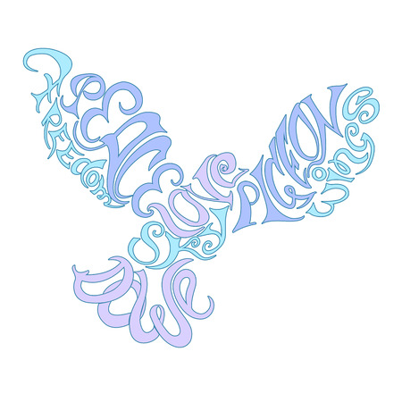 hand drawn wings: Vector illustration lettering element as Silhouette of flying bird dove pigeon with hand drawn Hand crafted composition inscription Peace, Freedom, Love, Dove, Sky, Pigeon, Wings. For printing, poster, t-shirt design.