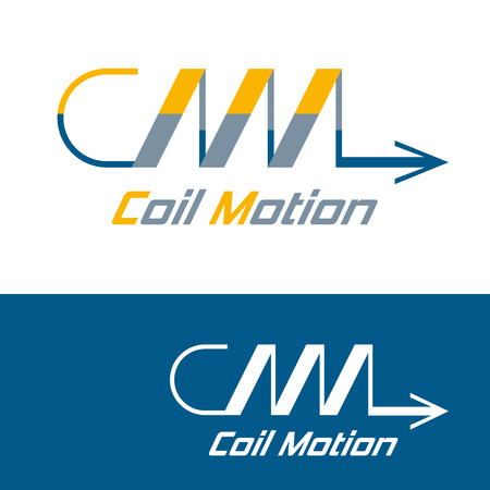 coil spring: Logo concept for brands containing in their name Letters C and M as compressed metal spring and arrow motion to right. Color and in one color. Abstract vector zigzag coil icon. Logotype template for brand or company Illustration