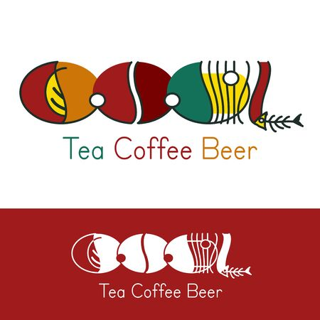 humorous: Cool Logo - humorous funny concept for modern bar, cafe, restaurant. Color and in one color. Abstract vector Tea coffee Beer icon. Logotype template for brand or corporate design