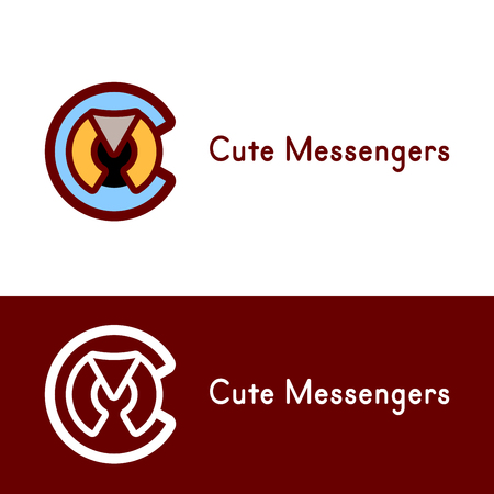 m: Logo concept for brands containing in their name Letters C and M. Circle Round logo template. Color and in one color. Abstract vector messenger logo icon. Logotype template for branding and corporate design