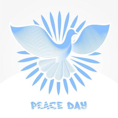 peace day: Emblem International Peace Day, Vector Trendy Minimalistic Dove Pigeon Logo