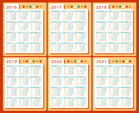 marked: Calendar 2016 2017 2018 2019 2020 2021 years vector Set in English. Week starts sunday. Holidays are not marked. Cells three columns and four rows