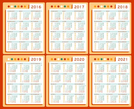 Calendar 2016 2017 2018 2019 2020 2021 years vector Set in English. Week starts monday. Holidays are not marked. Cells three columns and four rows
